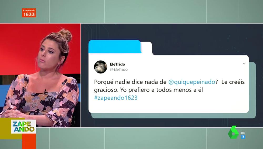 """Valeria Ros defiende a Quique Peinado de las críticas de un espectador: """"Es un profesional extraordinario"""""""