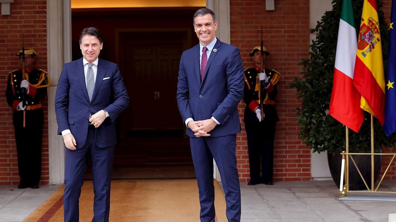 El presidente del Gobierno Pedro Sánchez y primer ministro italiano Giuseppe Conte