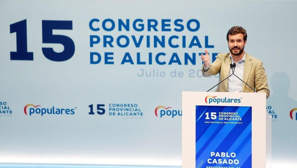 asado pronuncia un discurso durante la clausura del decimoquinto congreso provincial del PP de Alicante