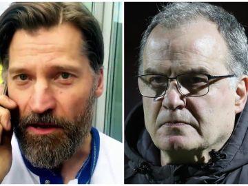 NIkolaj Coster-Waldau, Jaime Lannister en Juego de Tronos, y Marcelo Bielsa