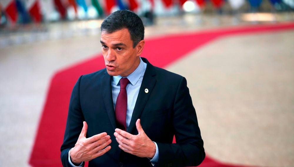 El presidente del Gobierno, Pedro Sánchez, comparece en Bruselas