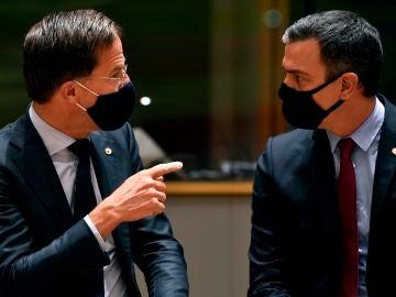 Mark Rutte, primer ministro de los Países Bajos, junto a Pedro Sánchez
