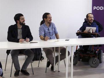 Juanma del Olmo, Pablo Iglesias y Pablo Echenique