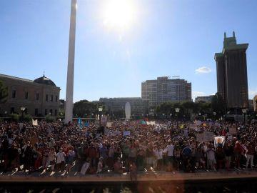 Vista de los asistentes a la manifestación que se ha celebrado esta tarde en la Plaza de Colón de Madrid.