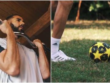 Karim Benzema se entrena con un balón de la Juventus