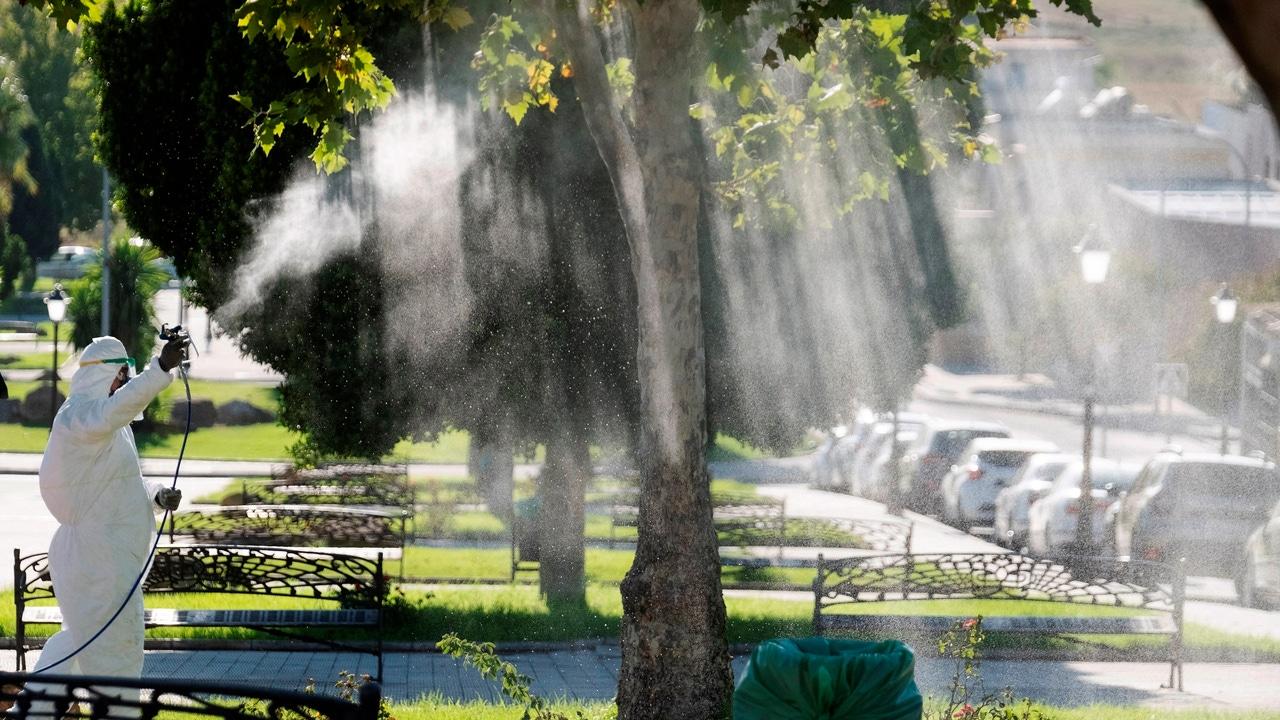 Un operario fumiga La Puebla del Río en un intento por detener al virus del Nilo, Sevilla