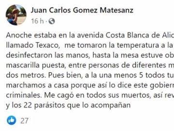 El 'post' de Juan Carlos Matesanz
