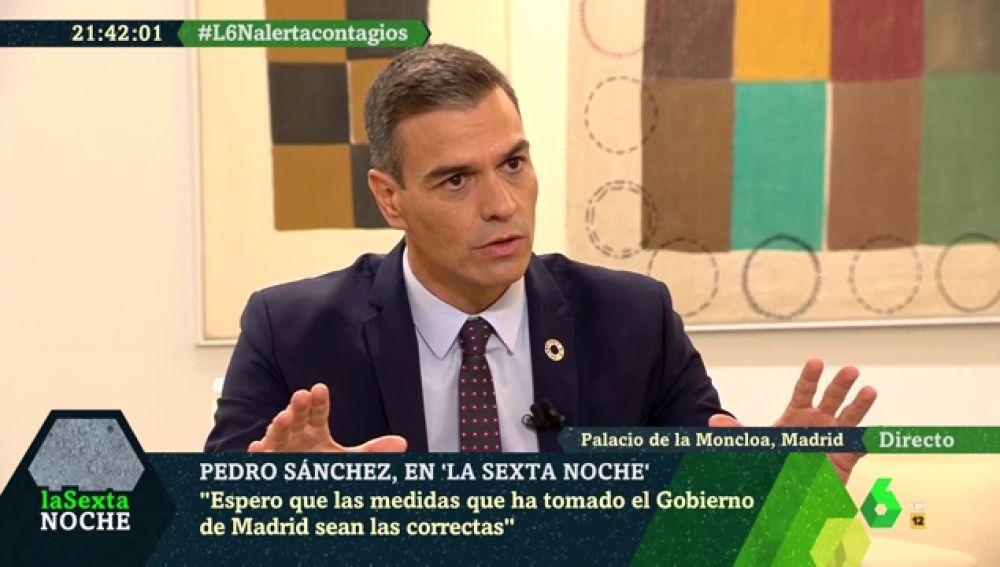 """El mensaje de Sánchez a Díaz Ayuso: """"No voy a tutelar ni a sustituir, voy a colaborar para doblegar la curva en Madrid"""""""