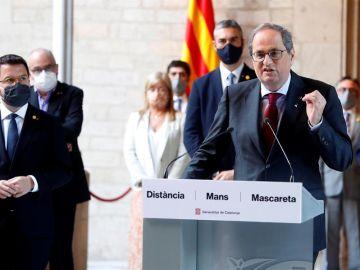 El presidente de la Generalitat, Quim Torra, durante la declaración institucional.