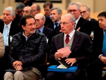 El expresidente de Bankia Rodrigo Rato durante la primera sesión del juicio por la salida a Bolsa de la entidad en 2011