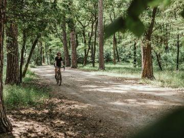 Una mujer hace deporte en bicicleta por un camino en medio de la naturaleza