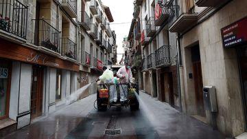 Limpieza de las calles en Peralta (Navarra)