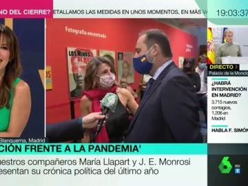 Yolanda Díaz y José Luis Ábalos en la presentación del libro 'La coalición frente la pandemia'