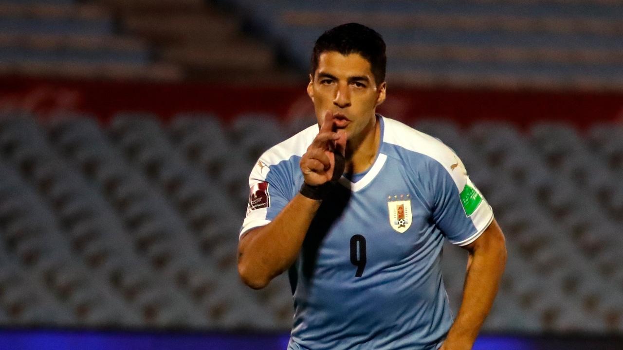 Luis Suárez, con la selección uruguaya