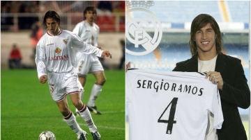 Sergio Ramos, vistiendo los colores del Sevilla y del Real Madrid