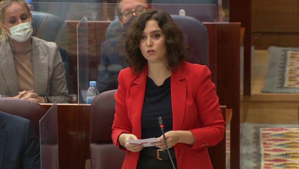 Isabel Díaz Ayuso en la Asamblea de Madrid