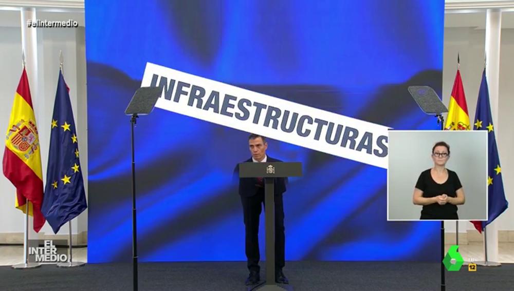 Vídeo manipulado - El susto de Pedro Sánchez cuando se le cae encima un cartel durante un discurso