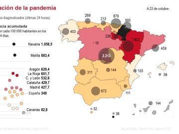 El mapa de la incidencia acumulada de COVID-19