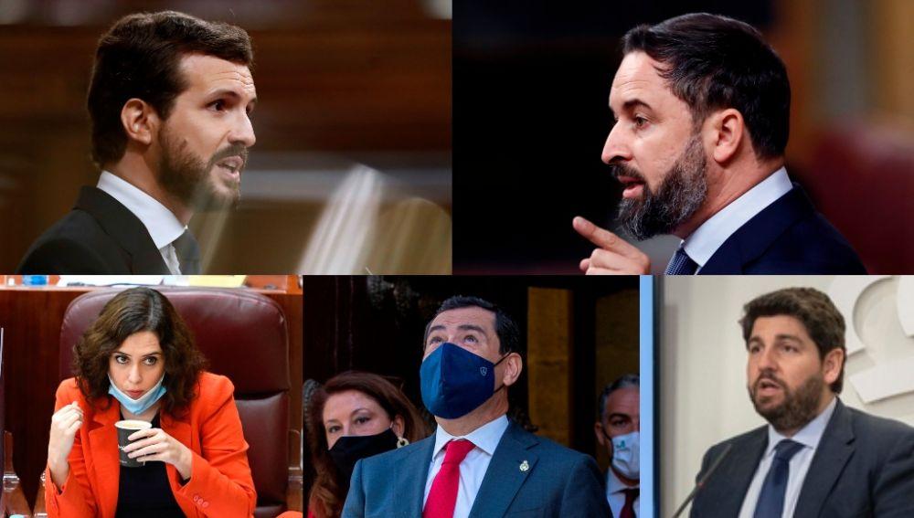 Casado, Abascal y los presidentes del PP