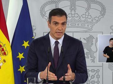 El presidente del Gobierno, Pedro Sánchez, comparece desde Moncloa