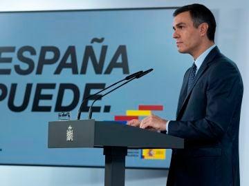 El presidente del Gobierno, Pedro Sánchez, en rueda de prensa