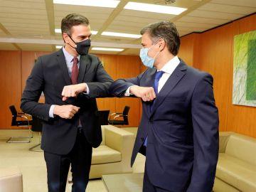 El líder opositor venezolano se ha reunido con Pedro Sánchez en la sede del PSOE.