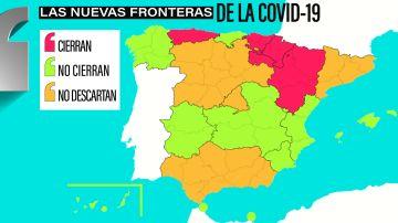 Mapa sobre la situación de cierre perimetral por comunidades autónomas