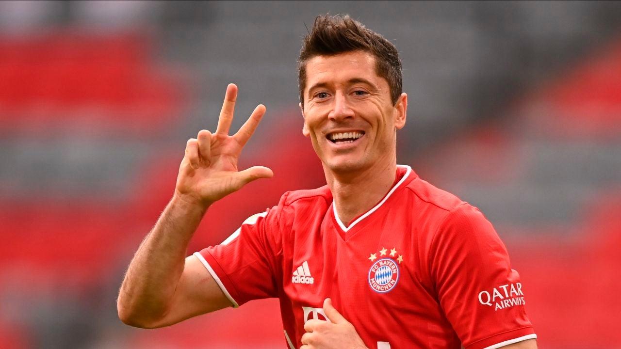 Robert Lewandowski, celebrando un gol con el Bayern
