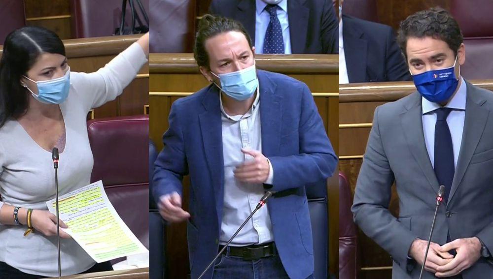 Macarena Olona, Pablo Iglesias y Teodoro Egea, en el Congreso