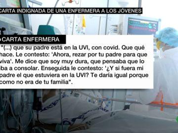 """La dura carta de una enfermera indignada: """"El joven que me dijo que quería divertirse me llama porque su padre está en la UVI con COVID"""""""