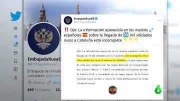 """La Embajada de Rusia responde sobre la oferta de 10.000 soldados para Cataluña: """"Faltan dos ceros"""""""