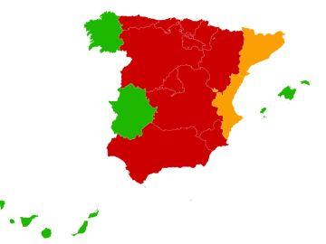 Mapa de confinamientos autonómicos