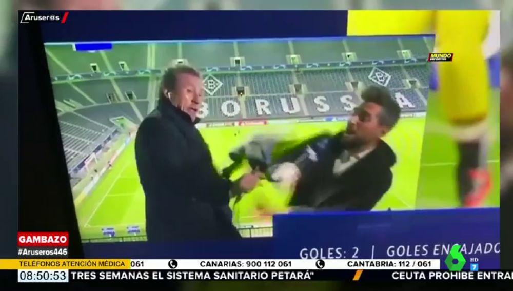 El accidente de Jorge Valdano tras el partido entre el Borussia Mönchengladbach y el Real Madrid