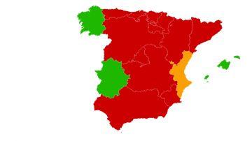 Mapa de confinamientos por CCAA