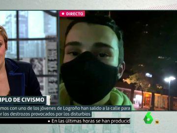 Imagen de un joven que ha limpiado las calles de Logroño tras los disturbios