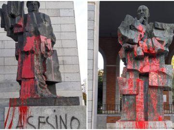 Los bustos de Indalecio Prieto y Largo Caballero, nuevamente atacados