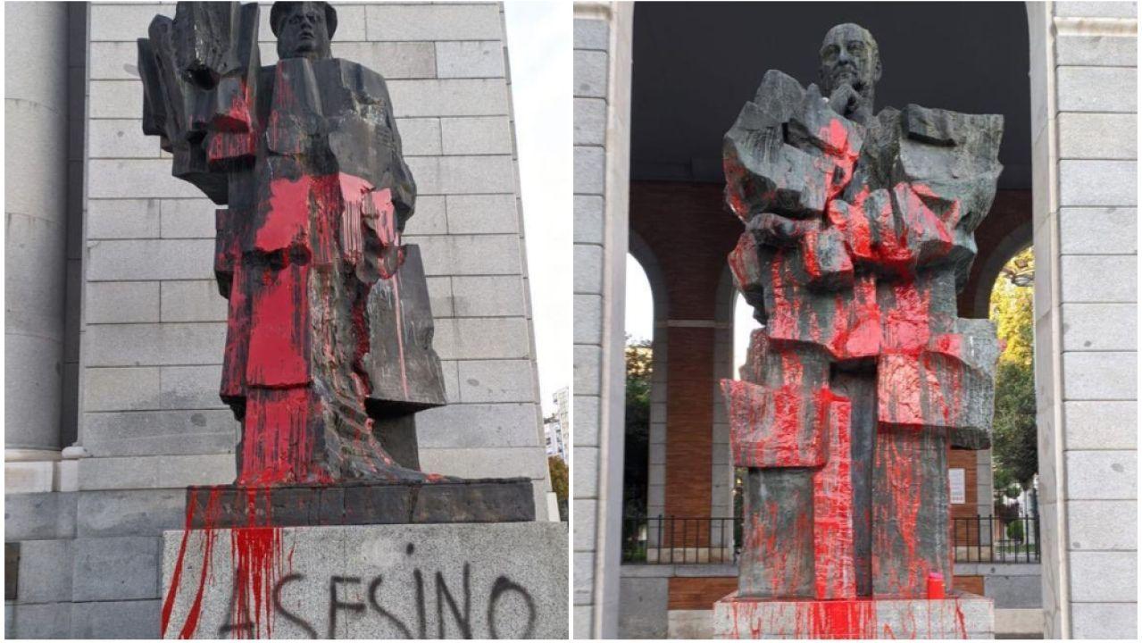 Nuevos ataques contra los bustos de Indalecio Prieto y Largo Caballero en Madrid