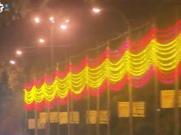 Imágenes de la prueba de iluminación emitidas por Telemadrid