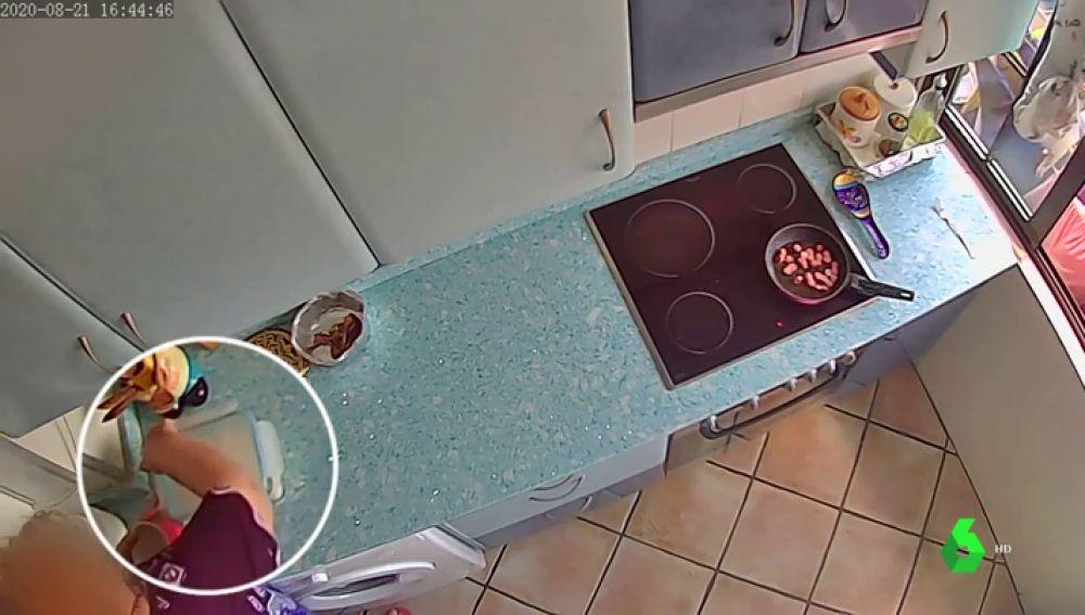 Grabación de la cámara que captó a la detenida envenenando la comida