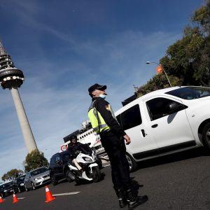 Controles de tráfico durante el confinamiento perimetral en Madrid