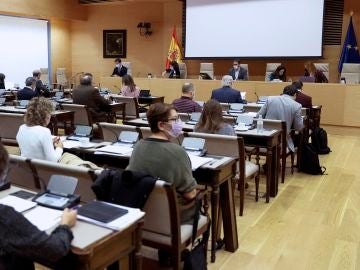 El presidente de la comisión de Educación, Sergio Gutiérrez Prieto (c) durante la votación este viernes del dictamen sobre las cerca de 300 enmiendas parciales añadidas a la llamada ley Celaá