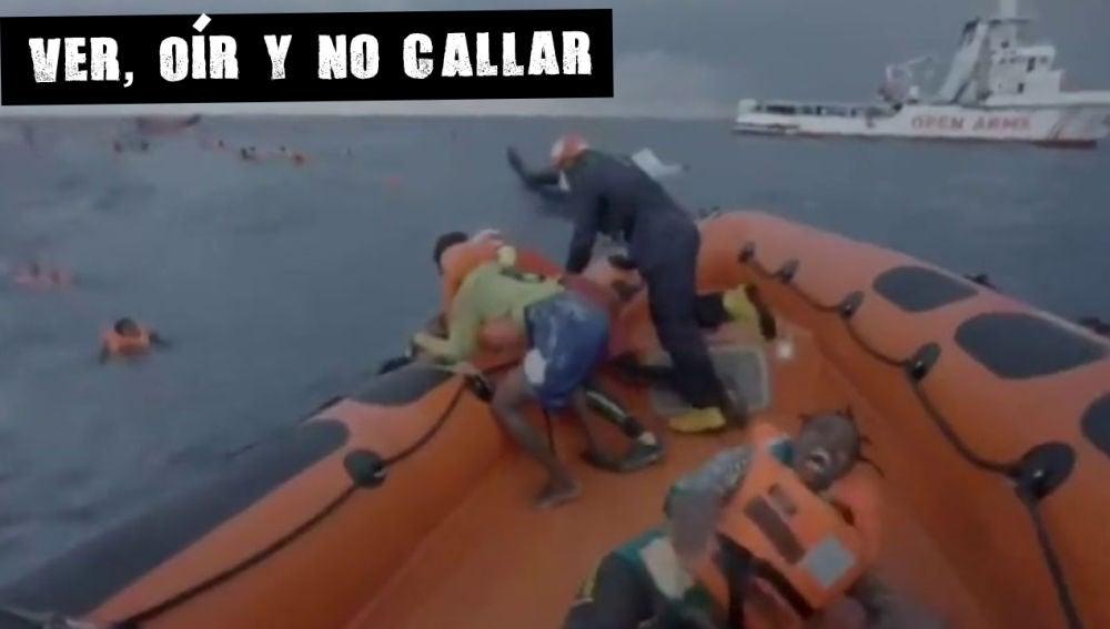 Madre gritando por su bebé en el Mediterráneo