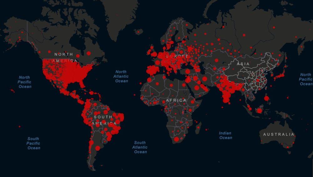 Mapa del coronavirus en el mundo