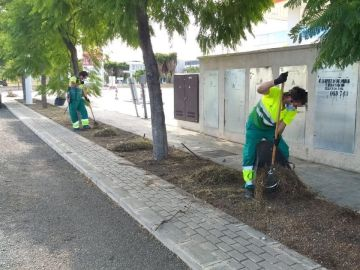 Imagen de archivo de trabajadores de limpieza