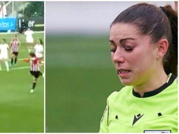 La colegiada Sara Fernández recibe un fuerte balonazo en la cara