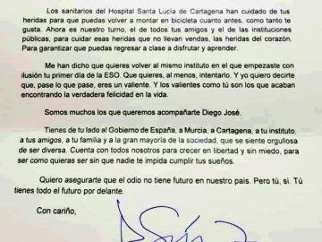 La carta de Pedro Sánchez