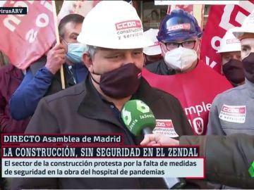Los obreros denuncian la falta de medidas de seguridad en las obras del Hospital Isabel Zendal
