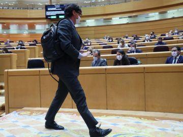 El ministro de Sanidad, Salvador Illa, durante la sesión de control en el Pleno del Senado