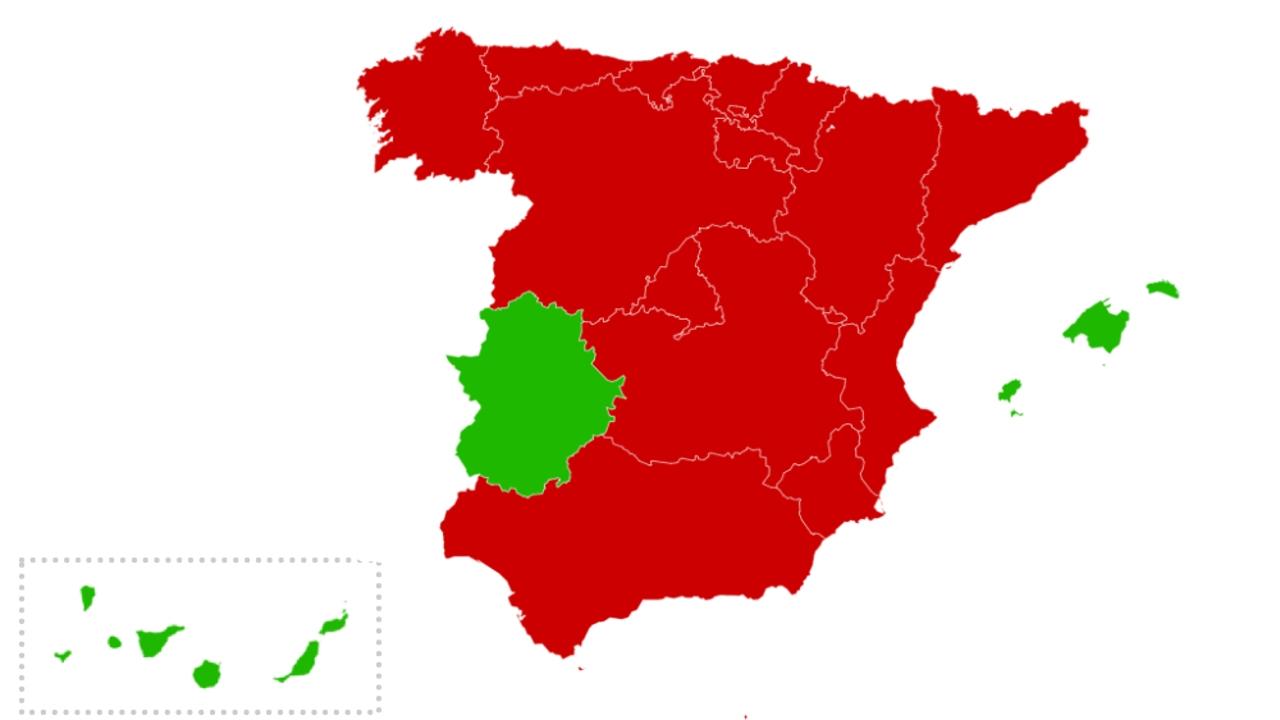 Mapa por CCAA sobre cierres y limitaciones durante el puente de la Constitución
