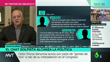 """Odón Elorza denuncia acoso por """"gente de Vox"""" tras su interpelación en el Congreso: """"Olona reconoció que los fascistas del chat de militares eran de los suyos"""""""